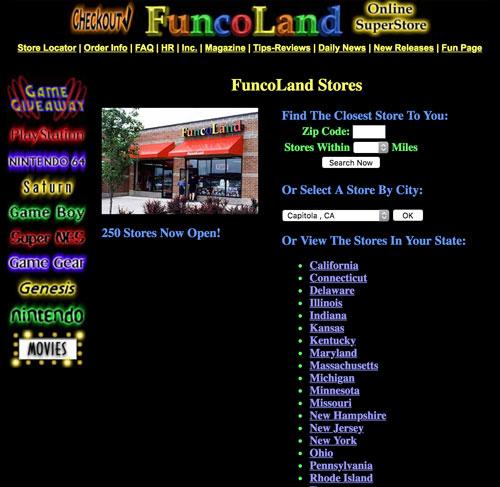 FuncoLand website