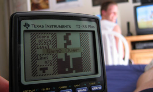 TI-83 playing Tetris